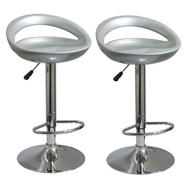 AmeriHome Modern Adjustable Height Bar Stools, Sleek Silver (Set Of 2)