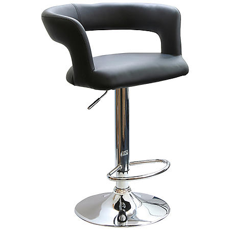 AmeriHome Modern Adjustable-Height Curvy Bar Stool