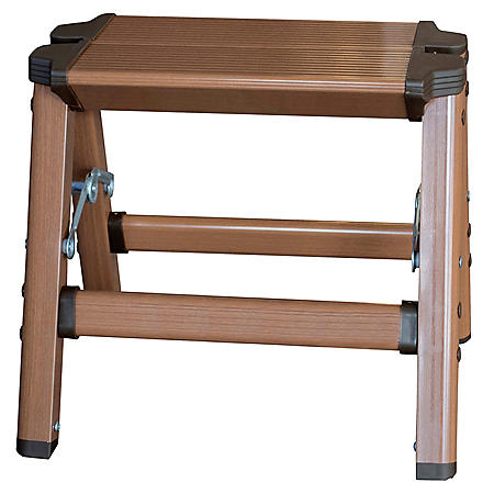AmeriHome Lightweight Aluminum 1 Step Ladder with Faux Wood Finish
