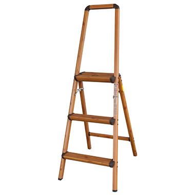 AmeriHome Lightweight Aluminum 3 Step Ladder with Faux Wood Finish