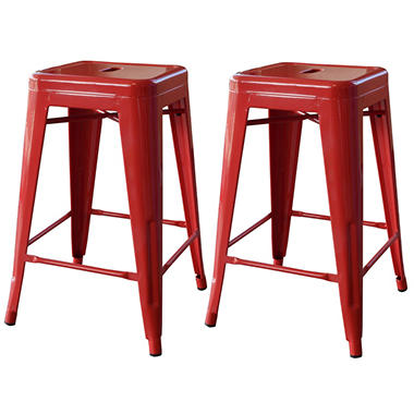 AmeriHome Loft Metal Bar Stools, Red (Set of 2)