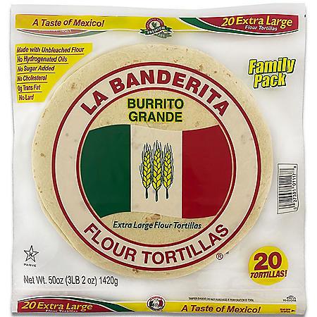 """La Banderita 10"""" Burrito Flour Tortillas (25oz / 2pk)"""