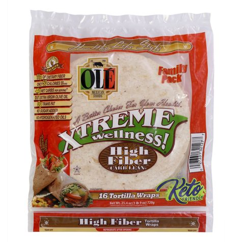 Ole Xtreme Wellness High Fiber Low Carb Tortilla Wraps, Twin Pack (16 ct.)