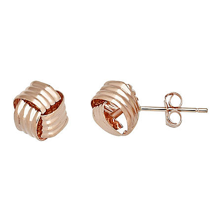 Love Knot Button Earring in 14K Rose Gold