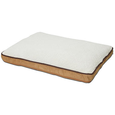 Canine Cushions Memory Foam Double Orthopedic Pet Bed, Tan Suede, 30