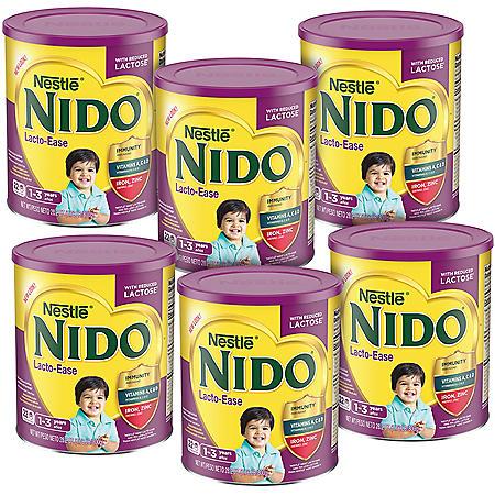 Nestle NIDO Kinder Lacto-Ease 1+ Powdered Milk Beverage (1.76 lb., 6 pk.)