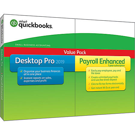 QuickBooks Desktop Pro 2019 with Enhanced Payroll (PC Disc)