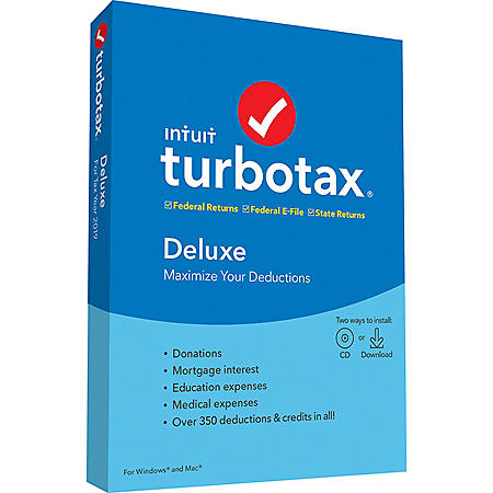 TurboTax Deluxe 2019 Fed + Efile + State (PC/MAC Disc)