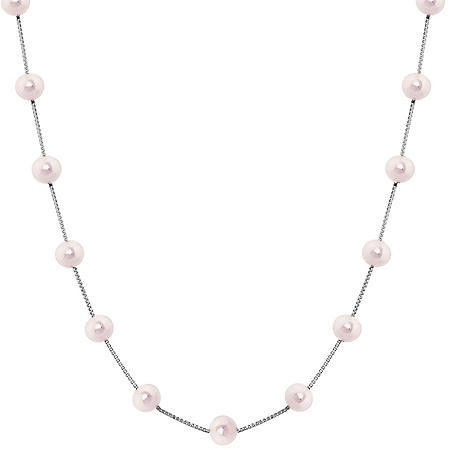 14K White Gold Pink Freshwater Pearl Station Necklace
