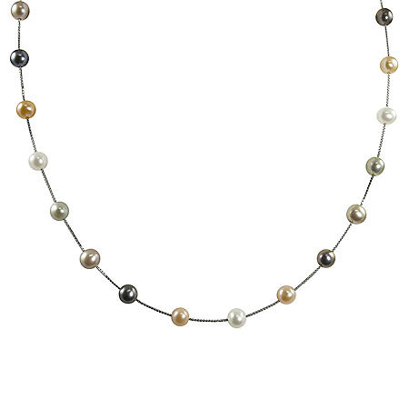 14K White Gold Freshwater Pearl Station Necklace - 17""