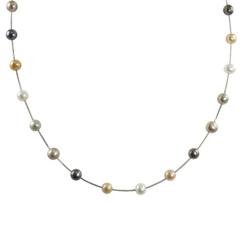 """14K White Gold Freshwater Pearl Station Necklace - 17"""""""