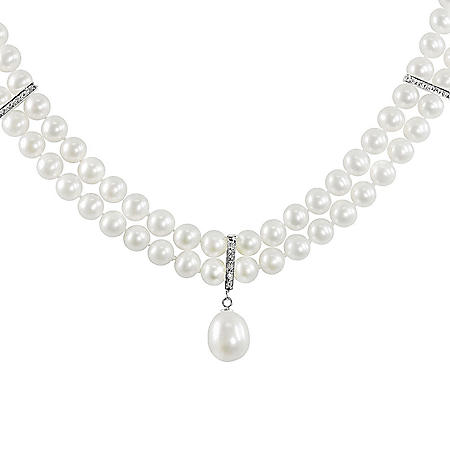 Two-Strand Freshwater Pearl Necklace with Pearl & Diamond Enhancer