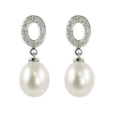 Pearl & Diamond Oval Drop Earrings (H-I, I1)