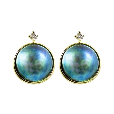13mm Eyris Blue Pearl & .143 ct. t.w. Diamond Earrings (G-H, VS1)