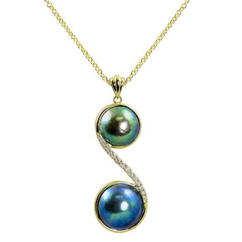 Double Eyris Blue Pearl & Diamond Pendant in 18K Yelllow Gold