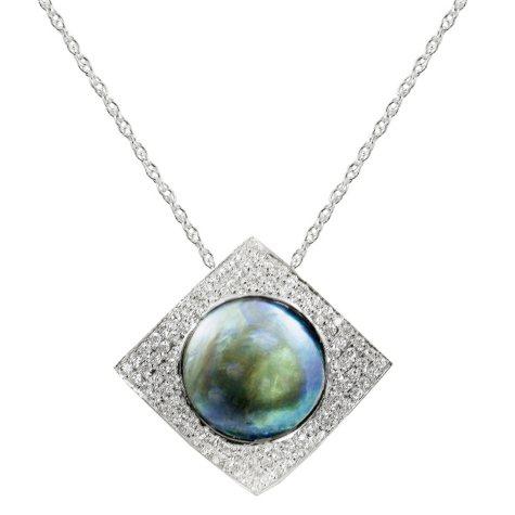 18K White Gold Eyris Blue 12mm Pearl & Diamond Pendant