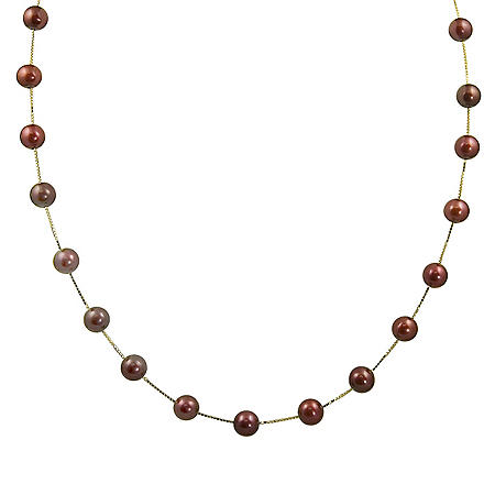 Cranberry Freshwater Pearl Station Necklace in 14K Yellow Gold