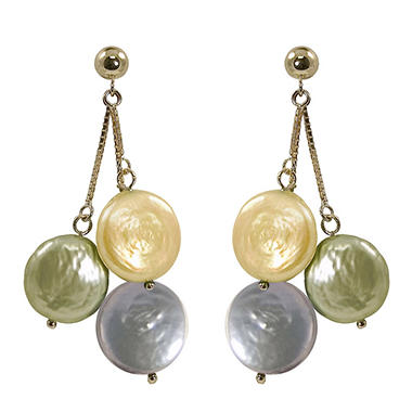 Champagne, Green and Gray Coin Pearl Earrings