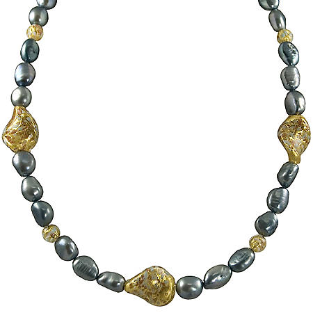 Blue Freshwater Pearl and Murano Bead Necklace