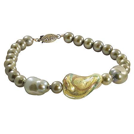Green Freshwater Pearl and Murano Bead Bracelet