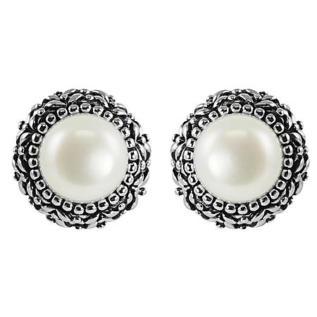 White Cultured Freshwater Button-Shaped Pearl Earrings in Sterling Silver