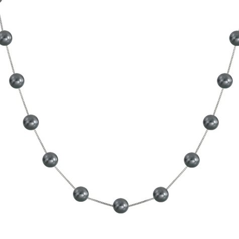 Black Freshwater Pearl Station Necklace in 14K White Gold