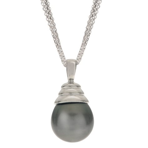 Black Tahitian Pearl Pendant with 5 Strand Diamond Cut Chain