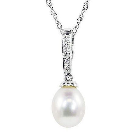 8-8.5mm Pearl & Diamond Drop Pendant