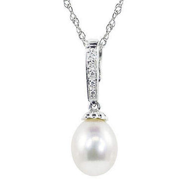 8-8.5mm Pearl & Diamond Drop Pendant