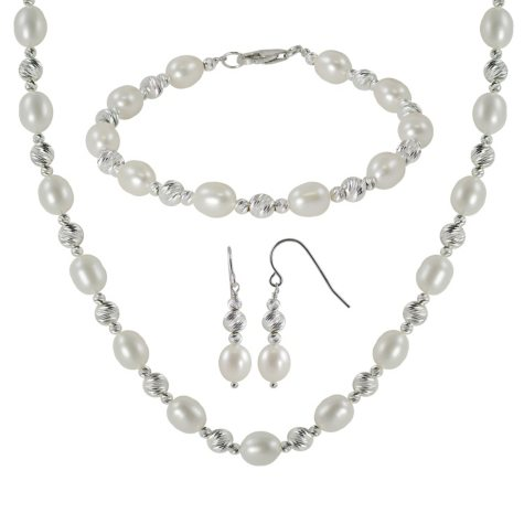 3 Piece Sterling Silver Sparkle Bead & Freshwater Pearl Necklace, Bracelet and Earring Set