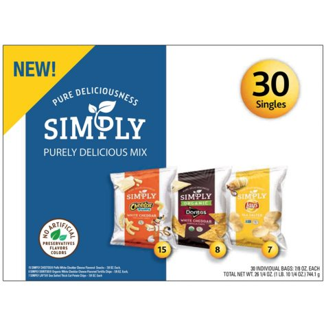 Frito-Lay Simply Chips and Snacks Purely Delicious Variety Pack Mix (30 ct.)