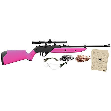 Crosman 760 Pumpmaster Bundle .177 Caliber Multi-Pump Air Rifle with Scope, Swirl Pink