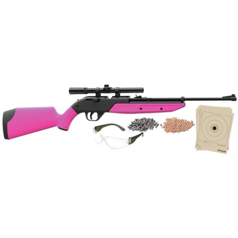 Crosman 760 Pumpmaster Bundle .177 Caliber Multi-Pump Air Rifle with Scope, Swirl Pink