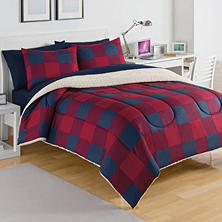 IZOD Buffalo Plaid Red/Navy Comforter Set (Assorted Sizes)