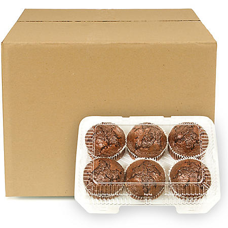 Double Chocolate Muffins, Bulk Wholesale Case (6 ct.)