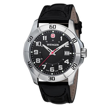 Wenger Swiss Military Alpine Black Leather Strap