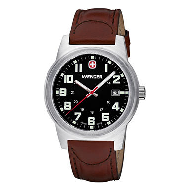 Wenger Classic Field - Black Dial with Brown Leather Strap