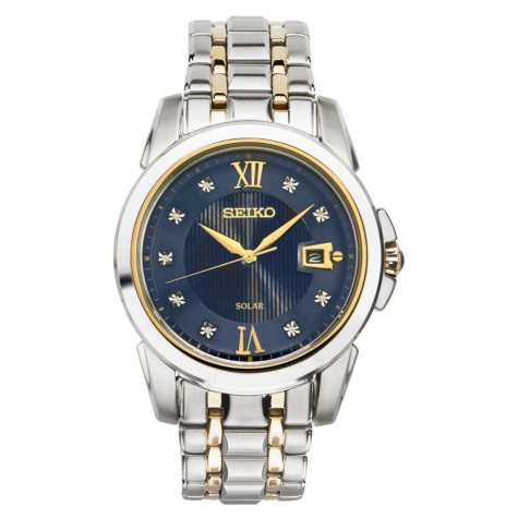 Seiko Men's Solar Two-Tone Blue Dial Diamond Watch