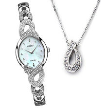 Seiko Women's Solar Crystal Watch and Pendant Box Set