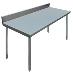 "Excalibur Preparation Table with 4"" Backsplash, Open Base, (various sizes)"