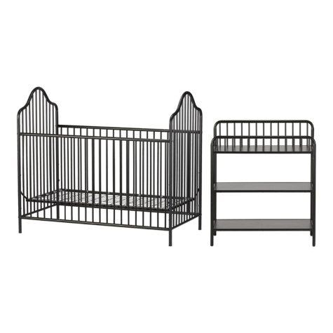 Little Seeds Rowan Valley Lanley Metal Crib and Changing Table Set, Black