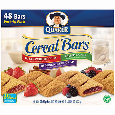 Quaker Cereal Bars Variety Pack (1.3 oz., 48 ct.)