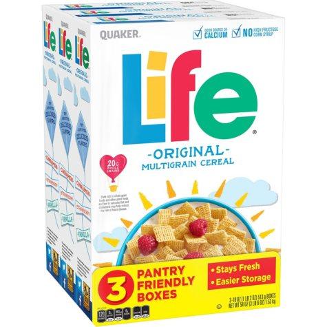 Quaker Life Cereal, Original (18 oz. each, 3 boxes)