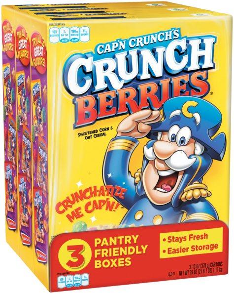 Quaker Cap'n Crunch's Crunch Berries Cereal (13 oz. box, 3 pk.)
