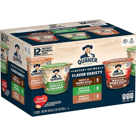 Quaker Instant Oatmeal Express Cups, Variety Pack (1.68 oz., 12 pk.)