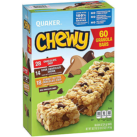 Quaker Chewy Granola Bars, Variety Pack (60 pk.)