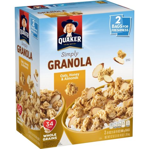 Quaker Simply Granola Oats, Honey and Almonds (31 oz., 2 ct.)