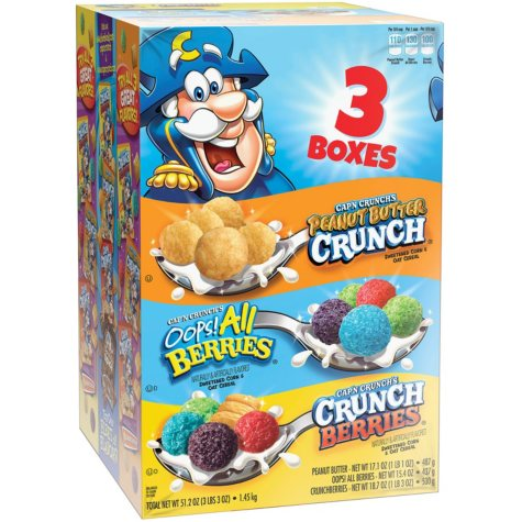 Cap'n Crunch Cereal Variety Pack (51.2 oz., 3 pk.)
