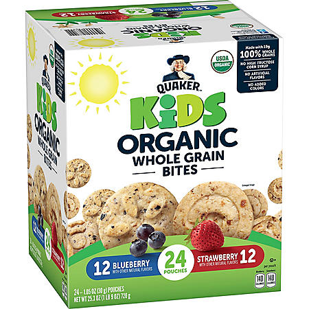 Quaker Kids Organic Whole Grain Bites, Variety Pack (24 ct.)