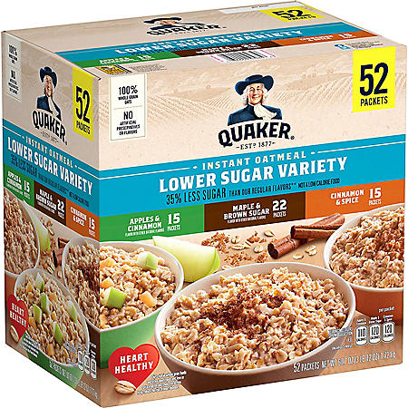 Quaker Lower Sugar Instant Oatmeal, Variety Pack (52 pk.)
